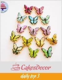 Cookies decorated like butterflies.
