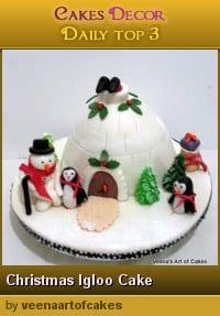 A cake decorated to look like an igloo.