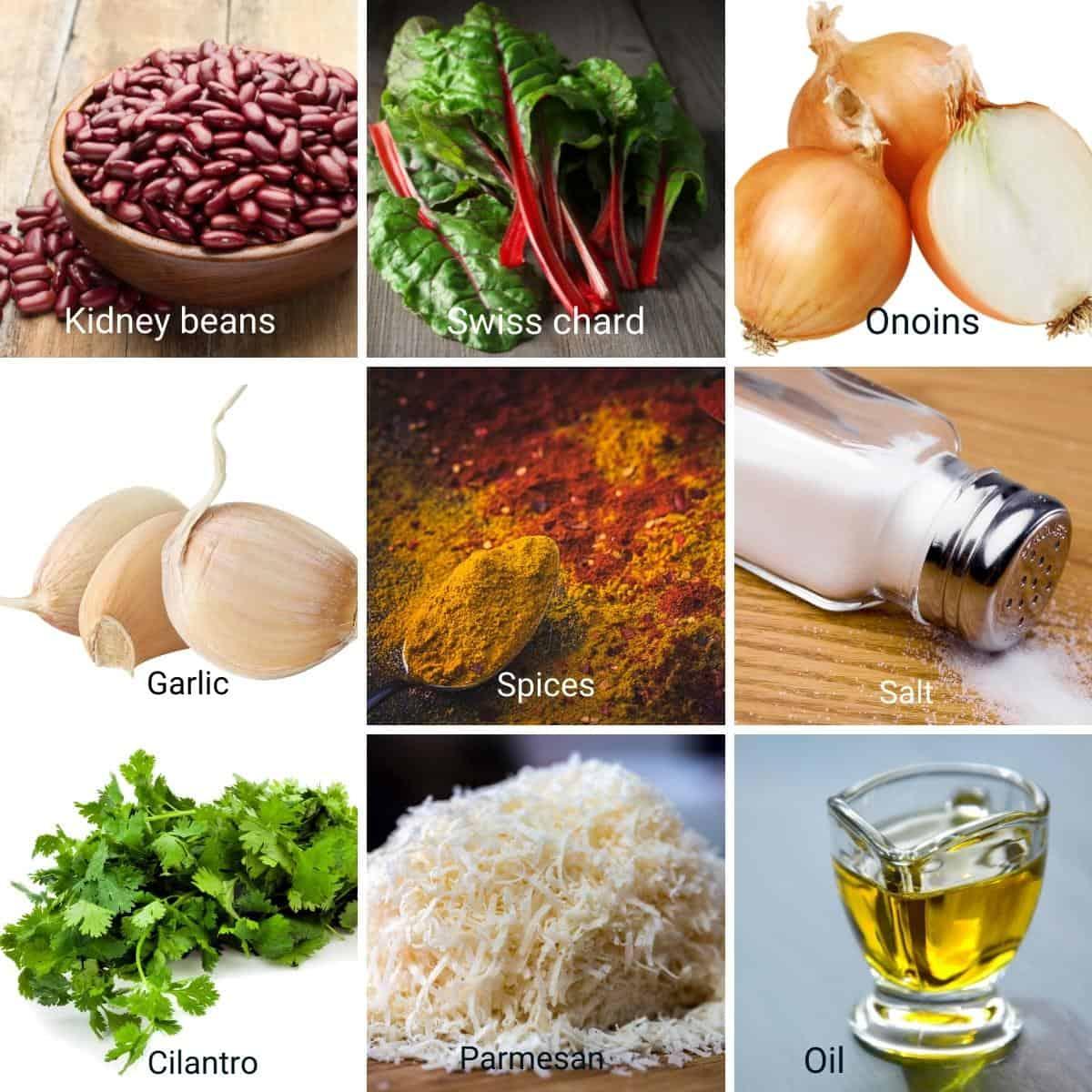 Ingredients for making vegan kidney beans patties.