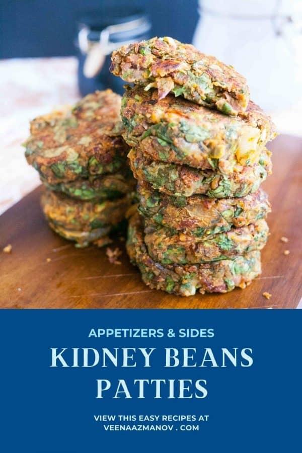 Pinterest image for kidney bean patties.