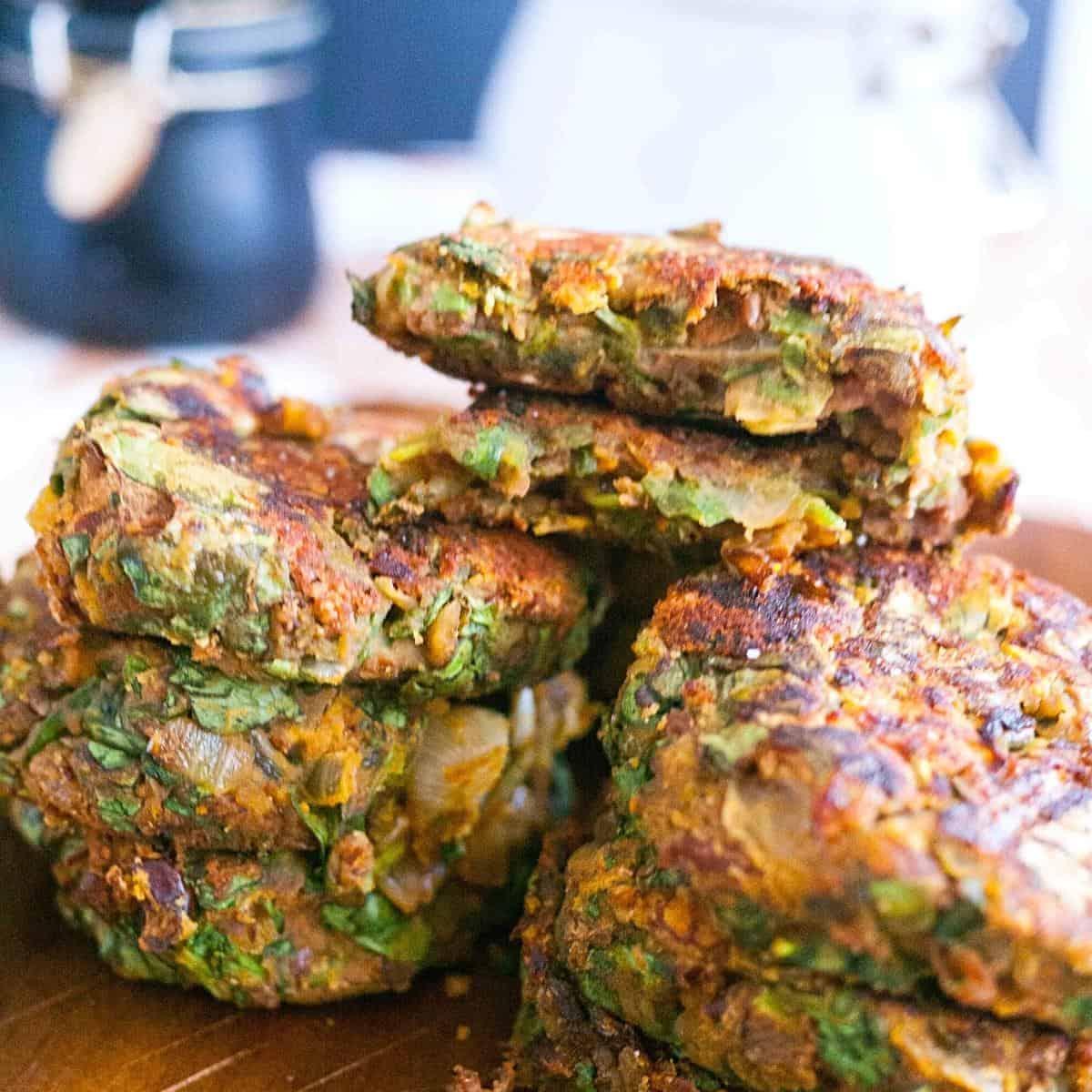 A stack of vegan kidney bean patties.