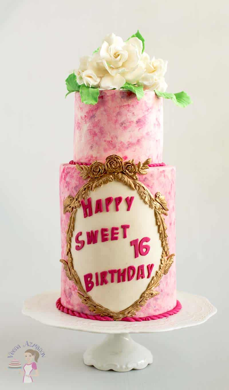 Remarkable Pink Sweet Sixteen Birthday Cake With Sugar Gardenias Veena Azmanov Personalised Birthday Cards Sponlily Jamesorg