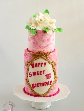 This pink sweet sixteen birthday cake with sugar gardenias is a perfect feminine cake for a girl any age be sixteen or sixty. This simple, easy and effortless sponge technique used here would make a wonderful Mothers Day Celebration cake or a Wedding Anniversary cake too.