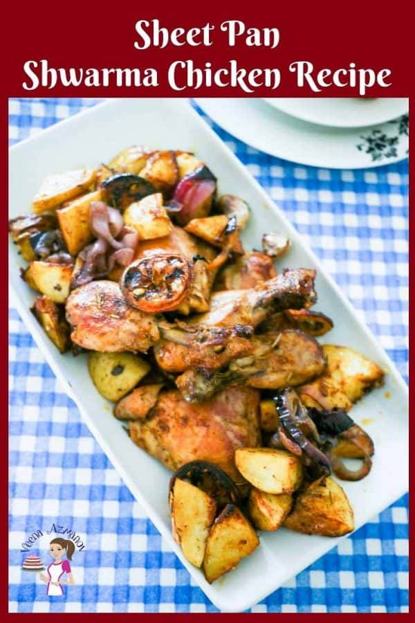 This sheet pan shawarma chicken takes advantage of the popular middle eastern shawarma spice mix to add flavor and dimension to your weekday sheet pan recipe.  This simple, easy and effortless recipe gets done in an hour. It's hearty and healthy with flavorful chicken, roast potatoes, caramelized onions, lemon and garlic.