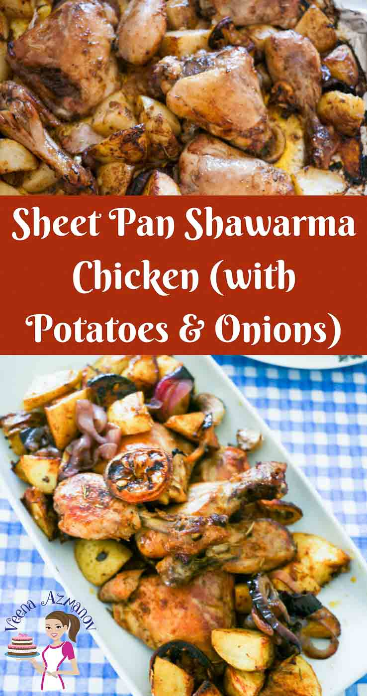 This sheet pan shawarma chicken takes advantage of the popular middle eastern shawarma spice mix to add flavor and dimension to your weekday sheet pan recipe.  This simple easy and effortless recipe gets done in an hour. It's hearty and healthy with flavorful chicken, roast potatoes, caramelized onions and garlic.