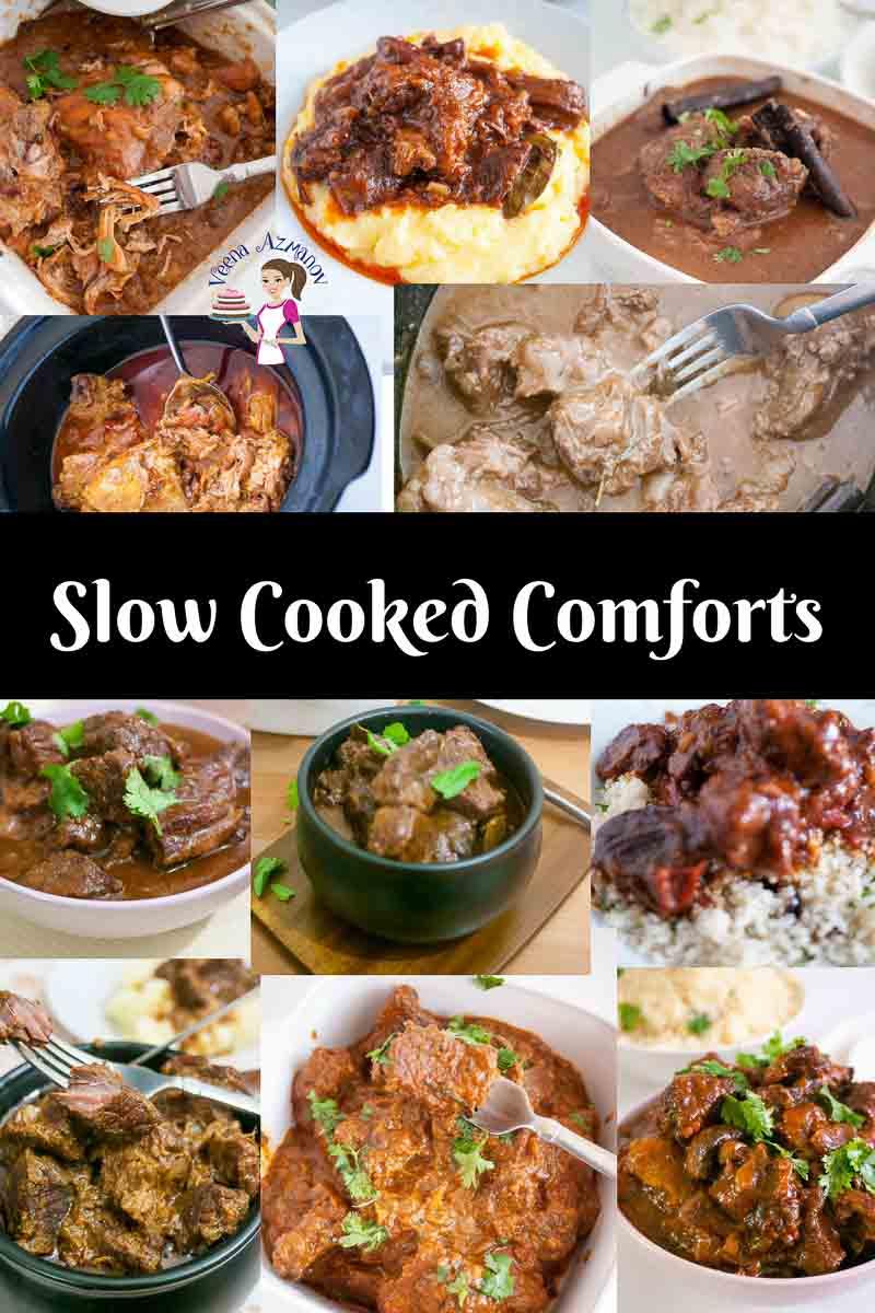 Slow-cooked recipes made on the stovetop or Slow cooker can be a time saver and a comfort food to have on busy days. A collection of slow cooker aka crockpot recipes from simple easy chicken to exotic Indian curries as well as Hungarian Beef Goulash and French Bourgeoisie aka Beef Burgundy made easy