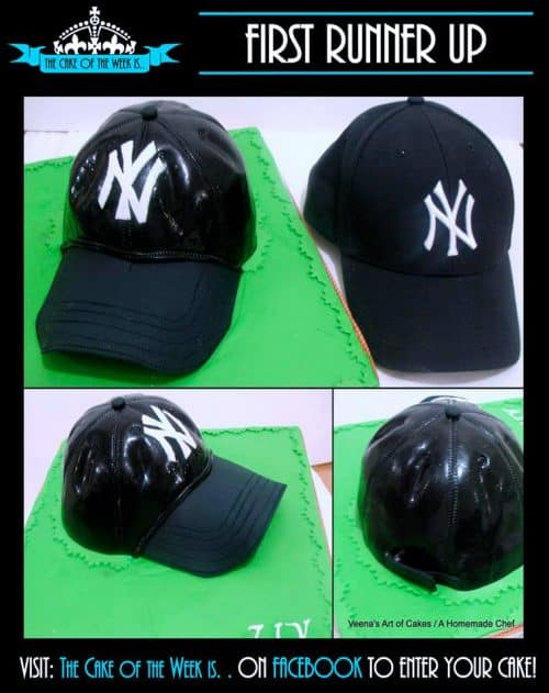 A cake decorated to look like a New York Yankees baseball cap.