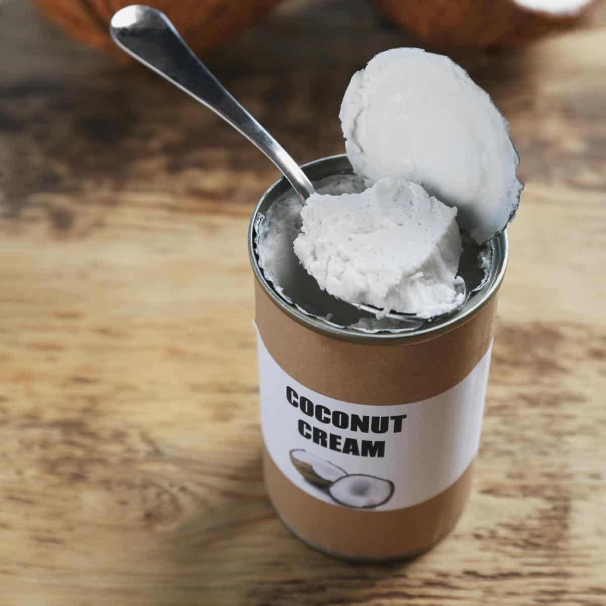 A can of thick coconut cream