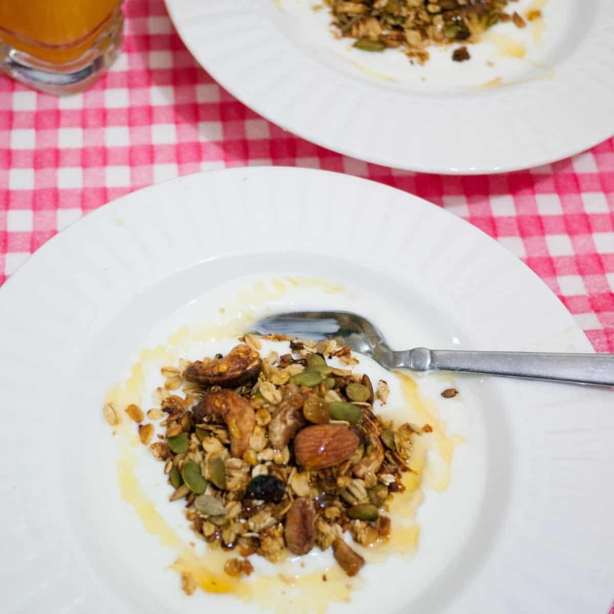 Parfait with granola, fruits, and yogurt