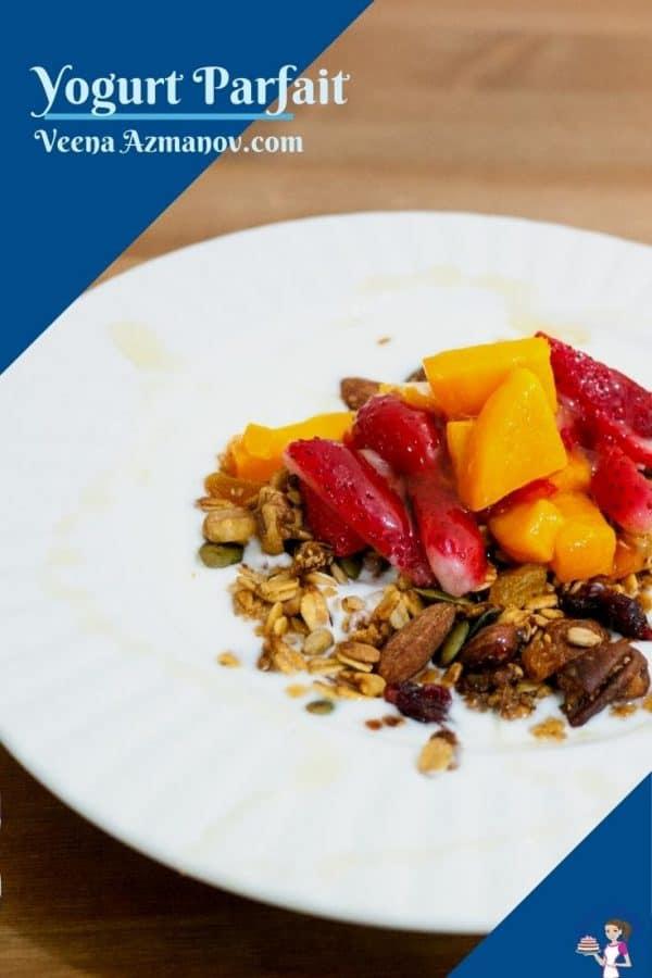 Pinterest image for yogurt parfait with strawberries and mango