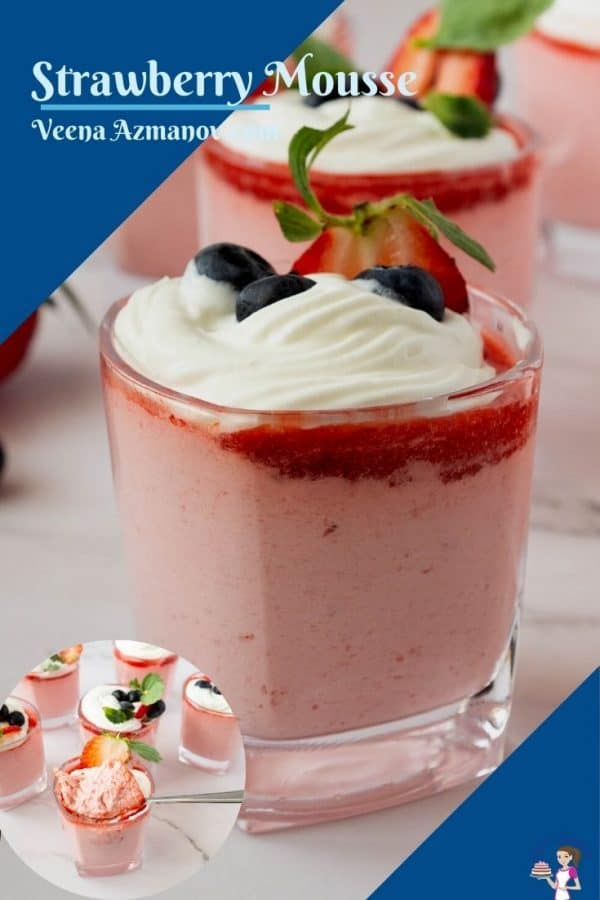 Pinterest image for mousse with strawberries
