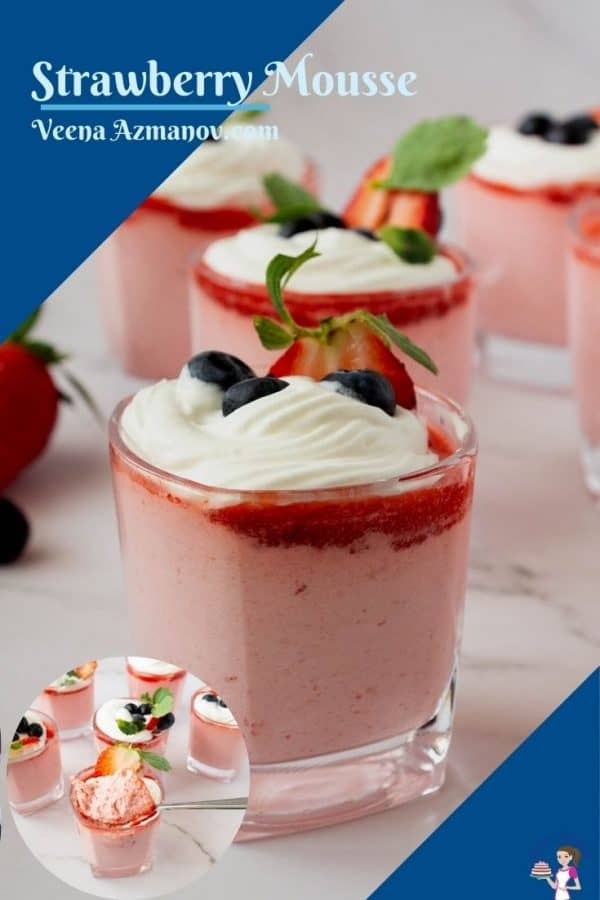 Pinterest image with strawberry mousse