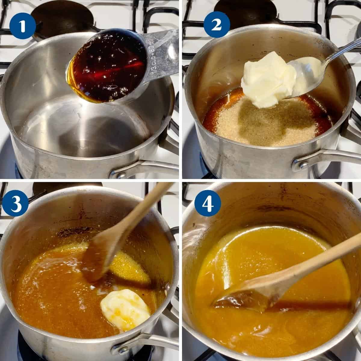 Progress pictures collage making caramel with golden syrup.