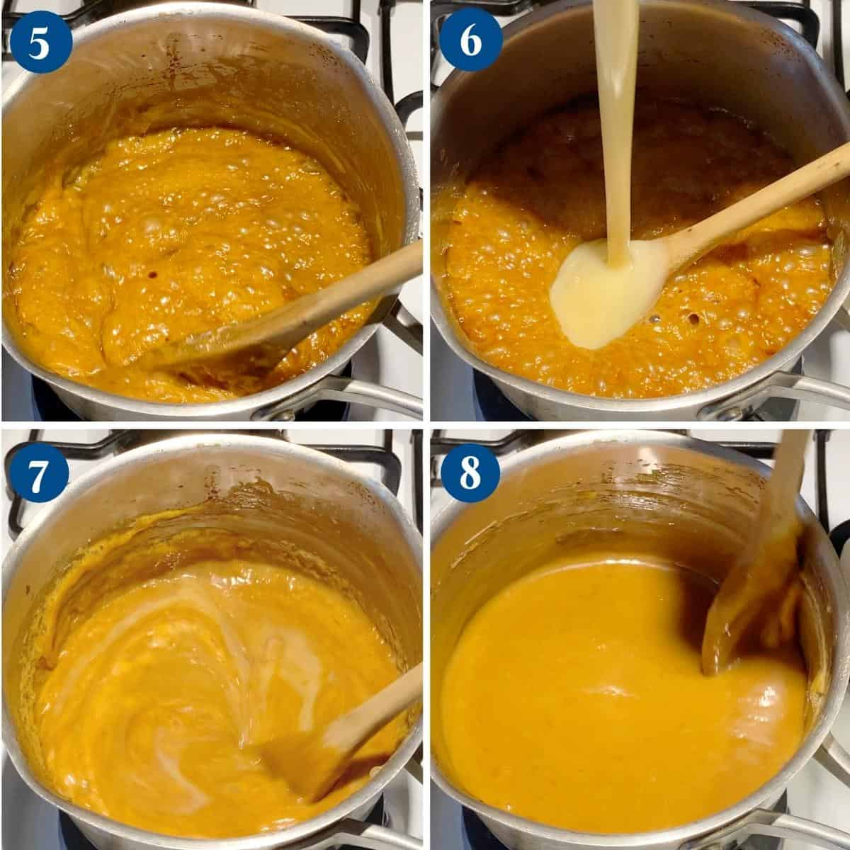 Progress pictures collage making caramel with condensed milk.