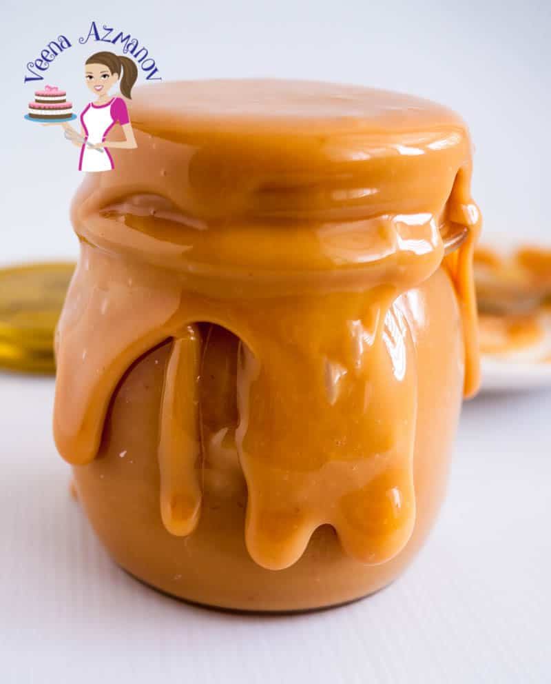 An over flowing mason jar of caramel ready to be used as caramel cake filling or caramel tart filling or over your favorite dessert.