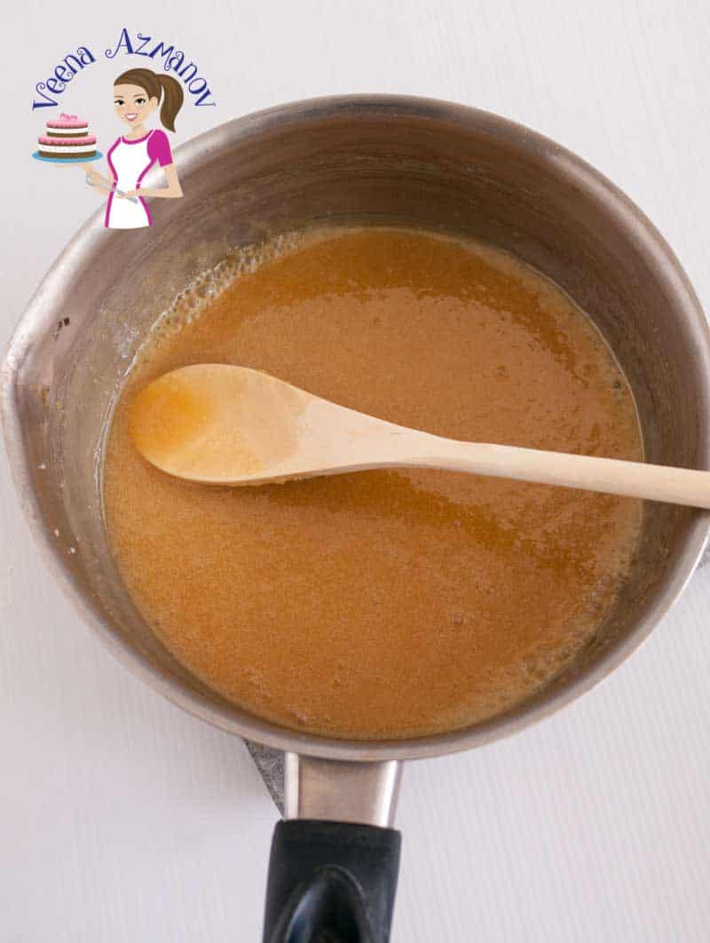Progress Pictures 2 - The melted caramel filling with butter brown sugar and golden syrup - ready for the next ingredients