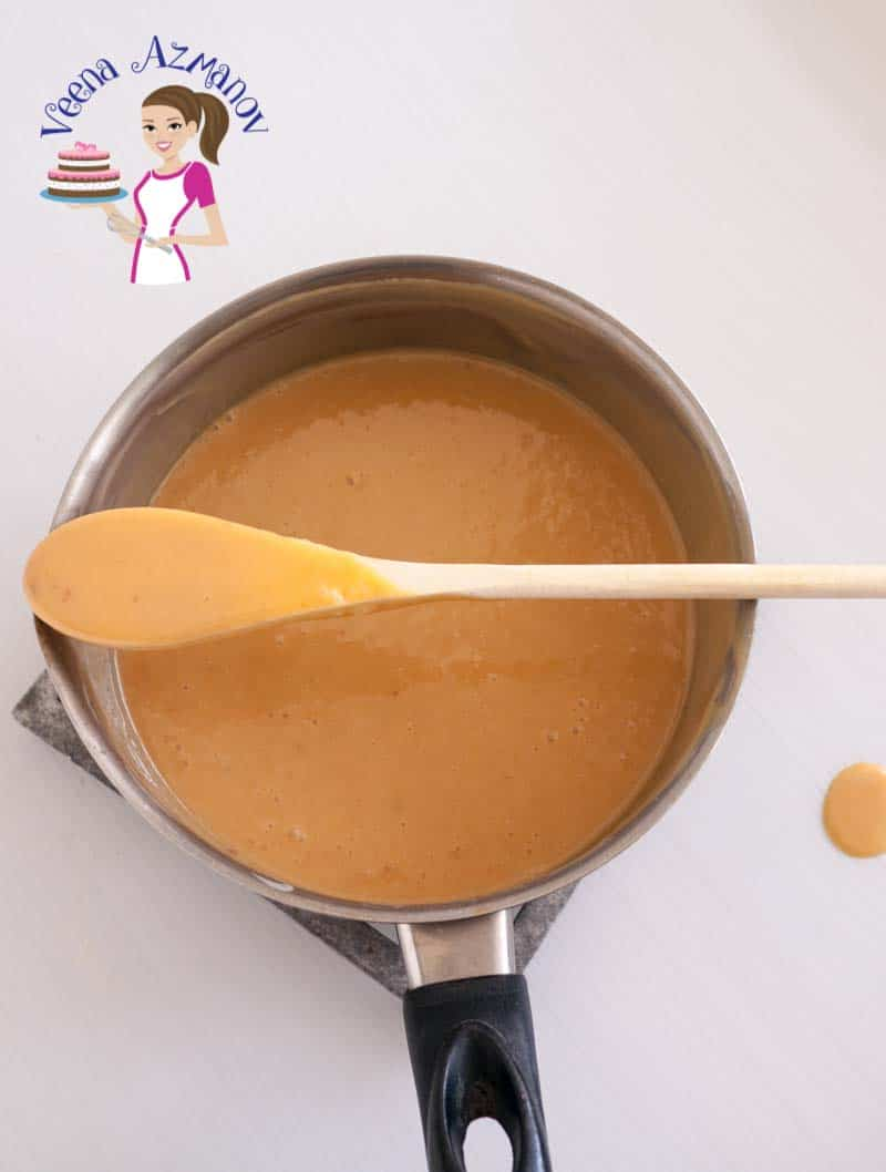 Progress Picture 4 The finished creamy caramel - golden in color and cooling in a saucepan ready to be used as a cake Filling or Tart Filling or over desserts