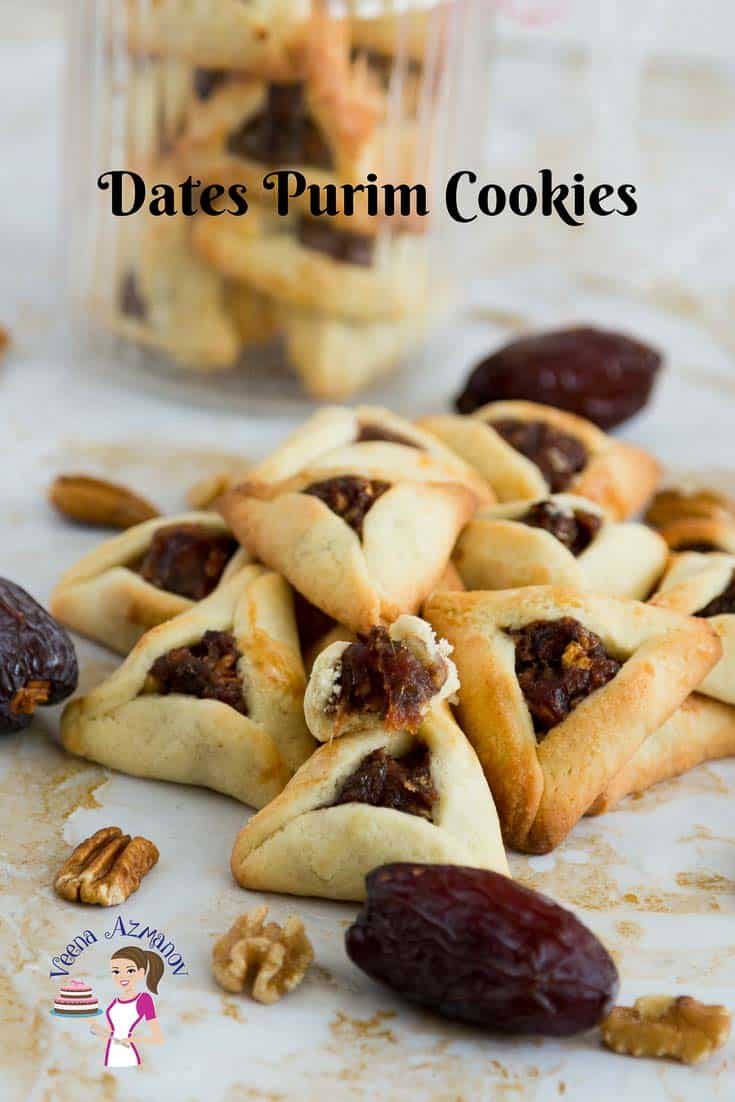 Pinterest Optimized Image for Dates Purim Cookies. These Festive Hamentaschen cookies are filled with dates and pecans then folded in a traditional method for Jewish Cookies