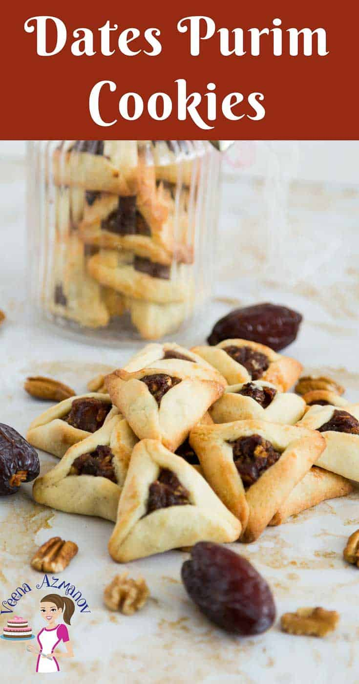 A Pinterest Optimized image for Dates Purim Cookies or date filled purim cookies, These Hamentaschen cookies or Ozen Haman cookies are made during the jewish festival of Purim.