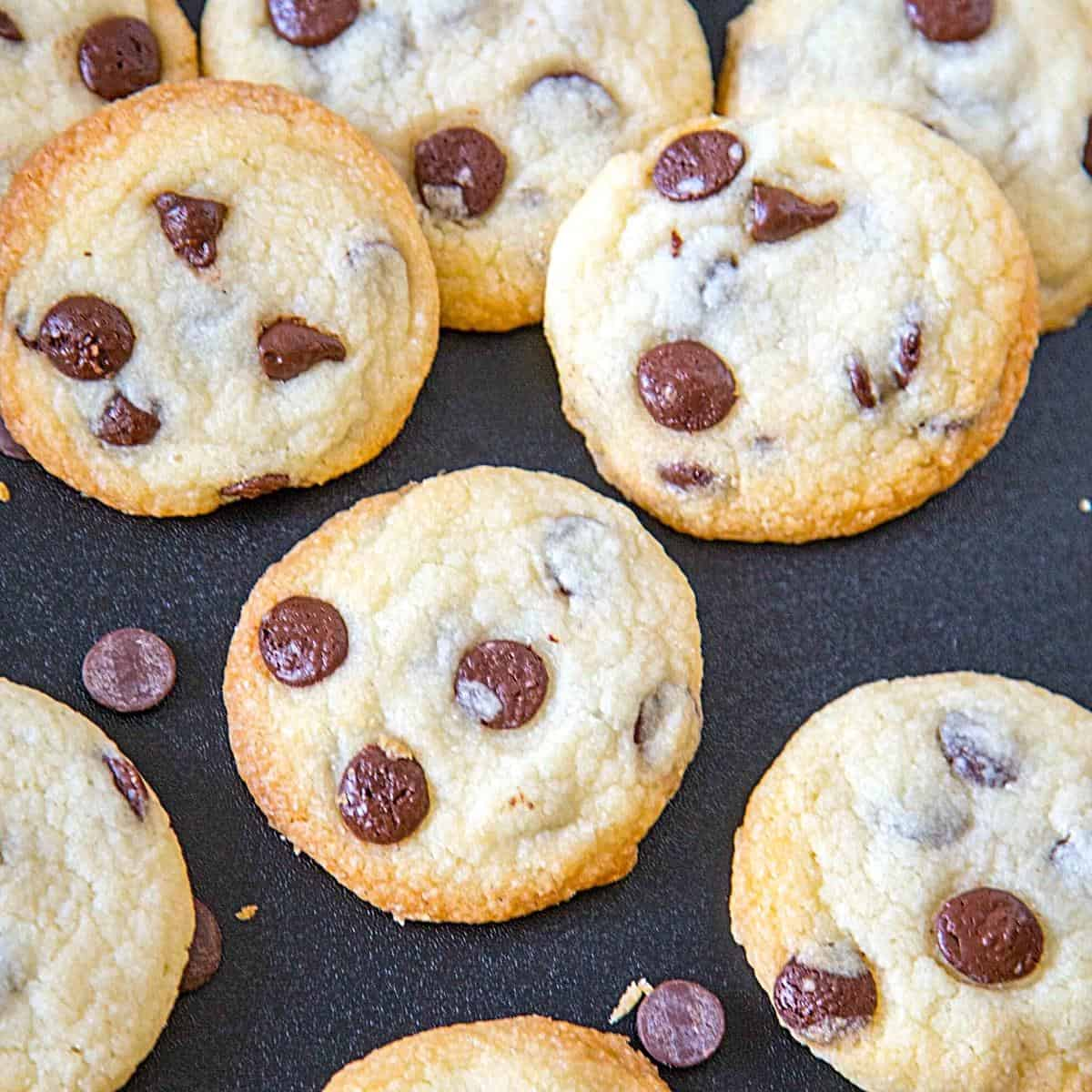 Eggless cookies with chocolate chips on a black board.