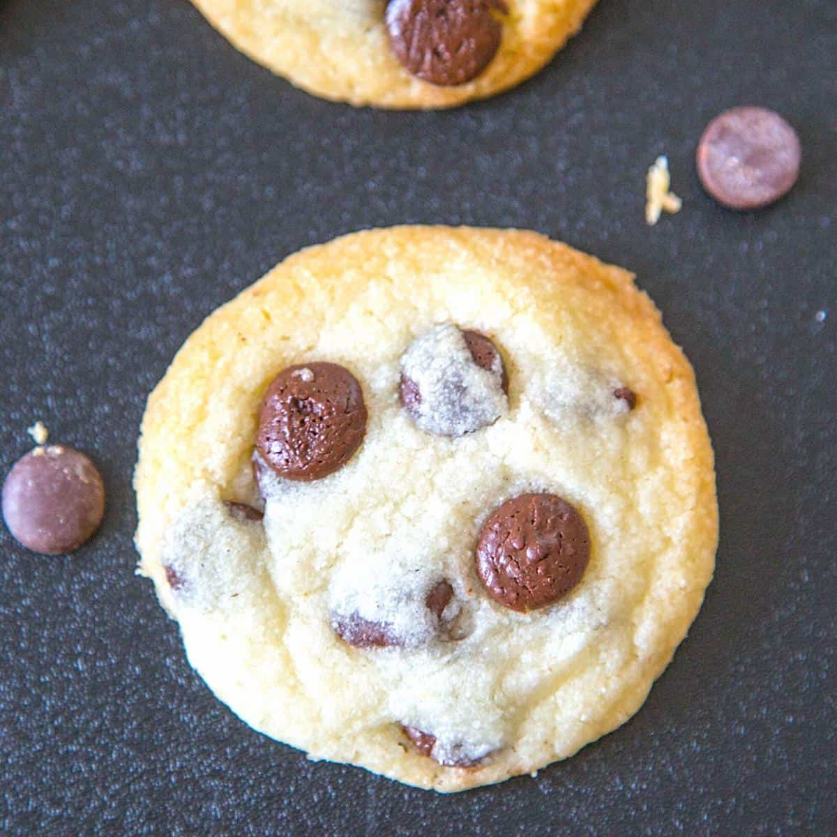 Eggless cookies on a black background.