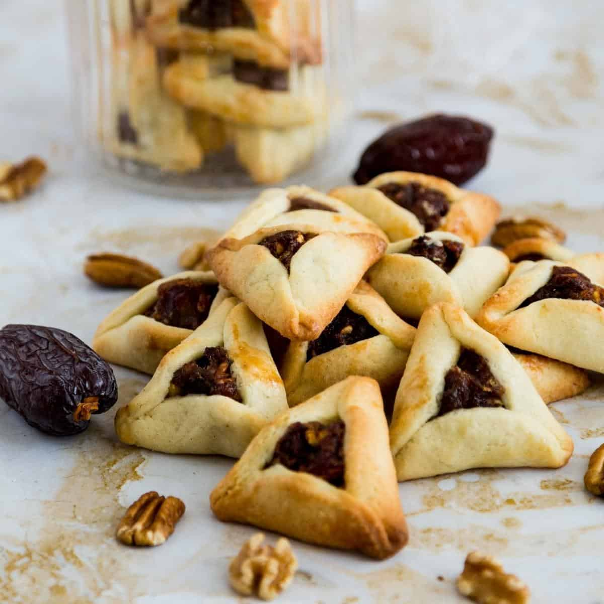 Hamantaschen purim cookies on a table