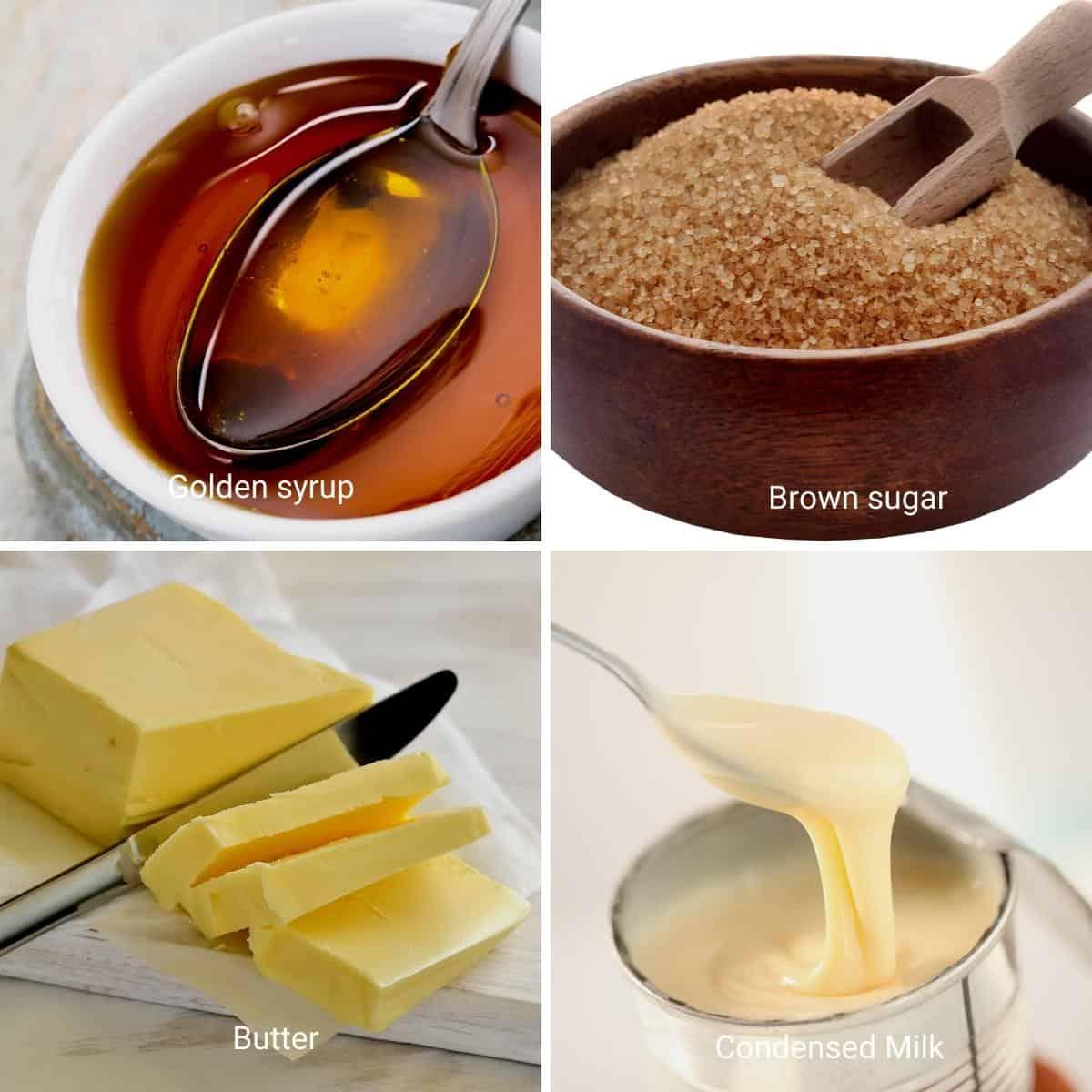 Ingredients for caramel filling.