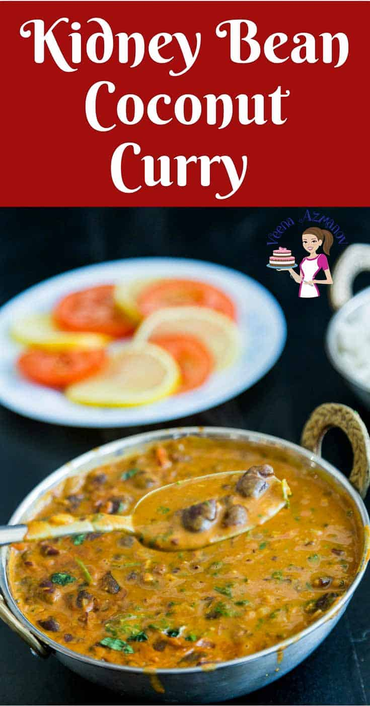 Pinterest Optimized Image for this Kidney Bean Coconut Curry or rajma chawal. Kidney Bean Curry with Indian Spices and coconut cream is comfort food in a bowl.
