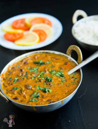 This kidney bean coconut curry is healthy nutritious comfort food in a bowl. Spiced with delicate Indian spices and creamy coconut cream. This simple, easy and effortless recipe can be made with canned or precooked kidney beans and can be prepared in less than 15 minutes. Serve it over steamed rice or with some crusty fresh baguette
