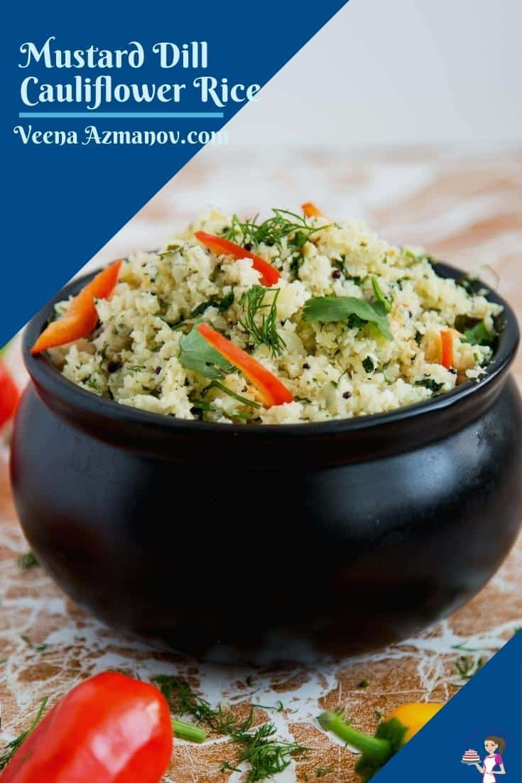 A Pinterest image for cauliflower rice pilaf
