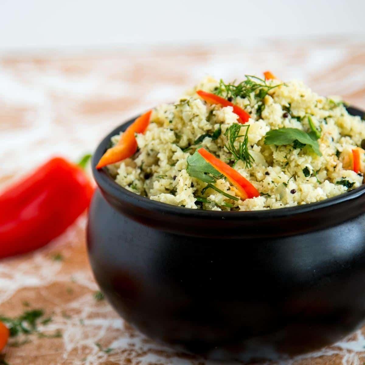A bowl of cauliflower rice pilaf