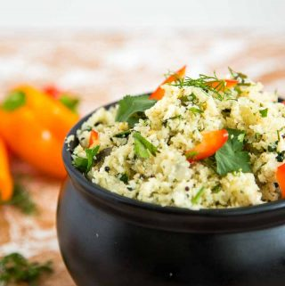 This sauteed mustard dill cauliflower rice is packed with flavor. A simple, easy and effortless recipe that takes no more than 10 minutes from start to finish. The rich and exotic flavors of mustard seeds and dill really perfume and flavor the cauliflower rice making it a meal on it's own weather it's lunch, dinner or a snack.