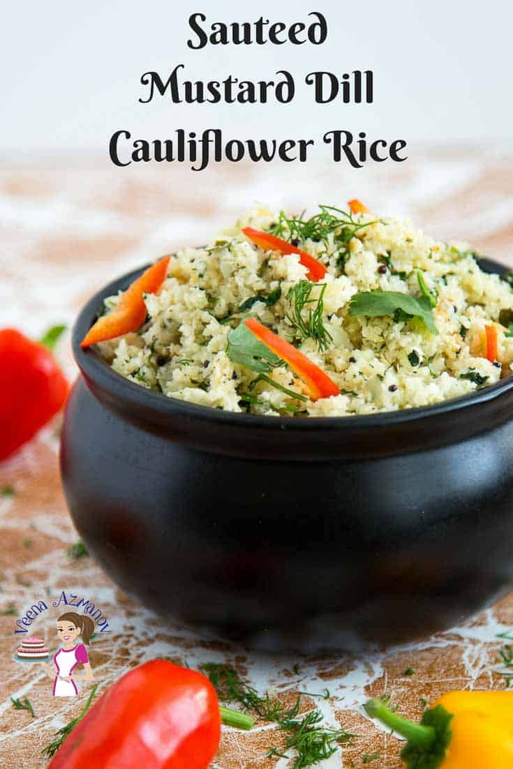A Pinterest optimized image for this cauliflower rice flavored with mustard seeds and dill.