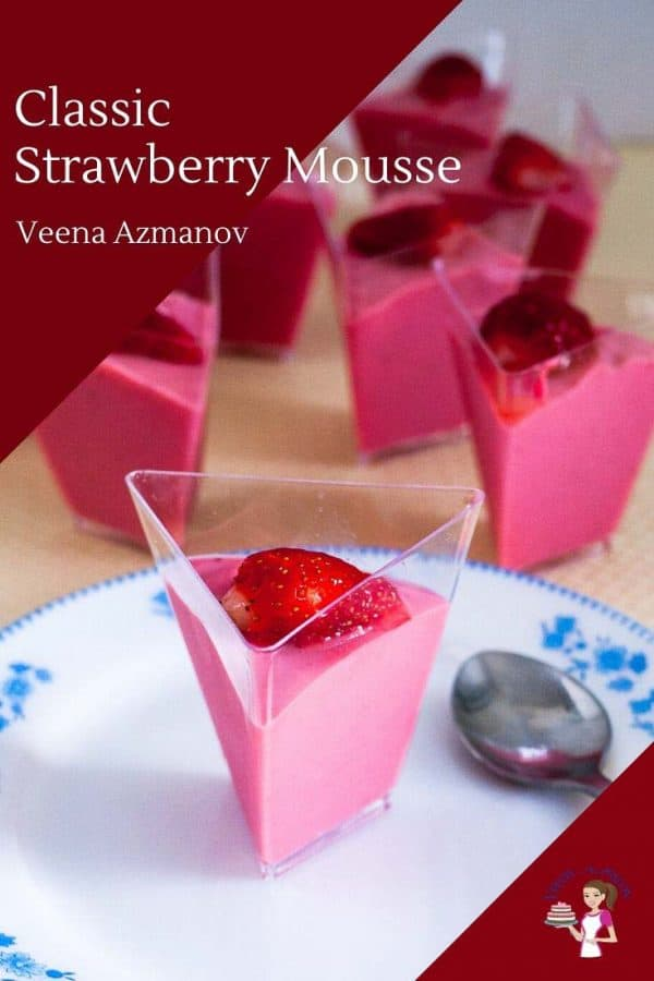 Homemade Mousse made the classic method with strawberries