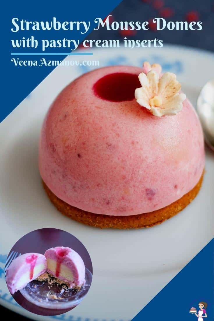Pinterest image for strawberry mousse domes