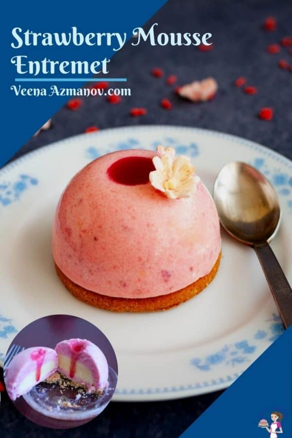 Pinterest image for strawberry mousse entremets
