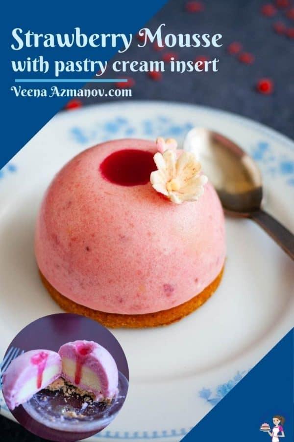 Pinterest image for strawberry entremets