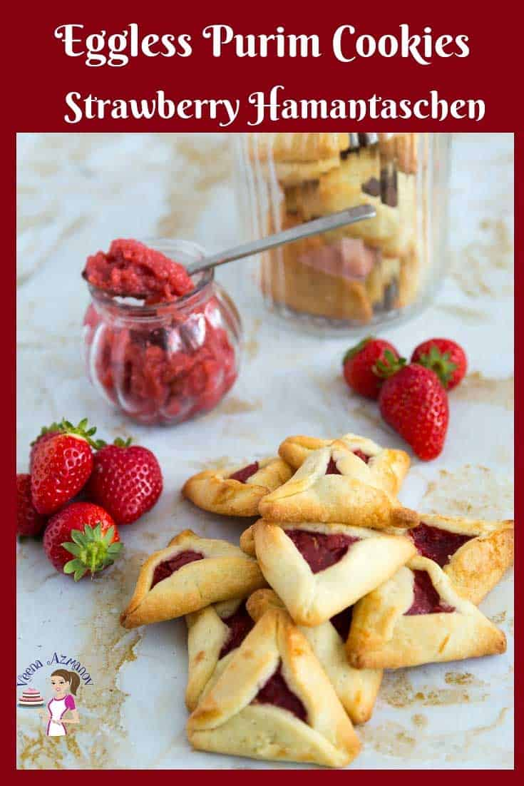 A stack of Purim cookies with strawberry filling.