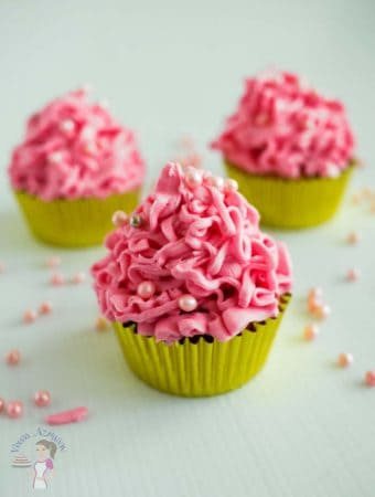 Eggless Strawberry Cupcakes with Pink Buttercream