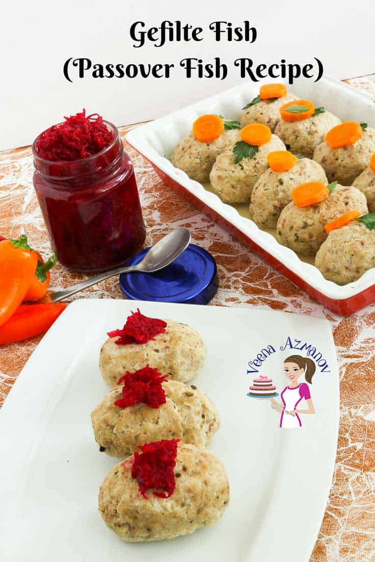 A Pinterest Optimized Image for Gefilte Fish recipe which is a traditional Jewish recipe made during Passover