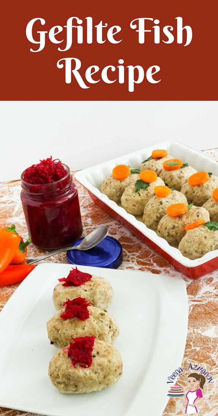 A Pinterest Optimized Image for Gefilte Fish Recipe made during the jewish Passover holiday made with fresh fish and matzo meal.