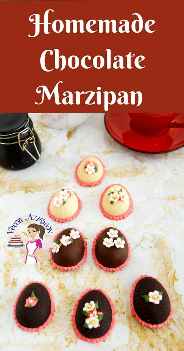 A Pinterest Optimized image for Homemade Chocolate Marzipan Recipe featuring chocolate marzipan Easter Eggs.