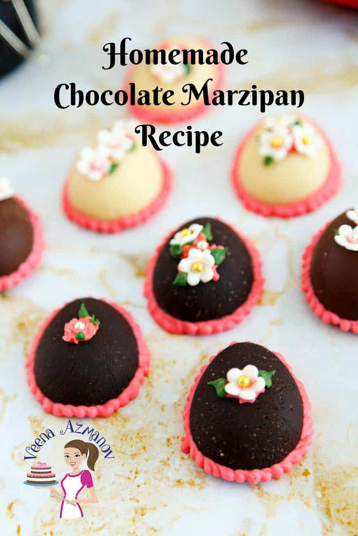 A Pinterest Optimized Image for homemade Chocolate Marzipan featuring Chocolate Easter Eggs.