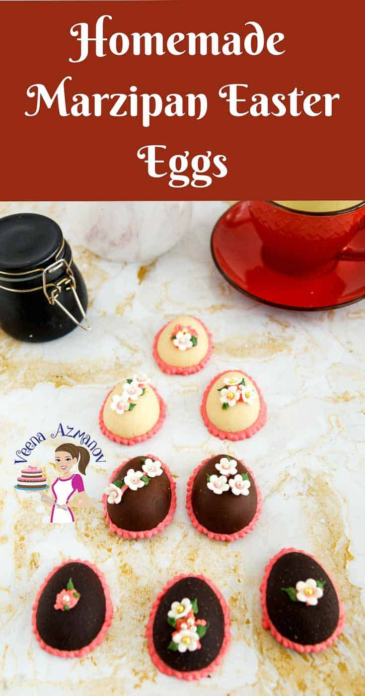 A Pinterest optimized image for marzipan Easter eggs showing three classic marzipan eggs, three chocolate marzipan eggs and two chocolate coated marzipan eggs