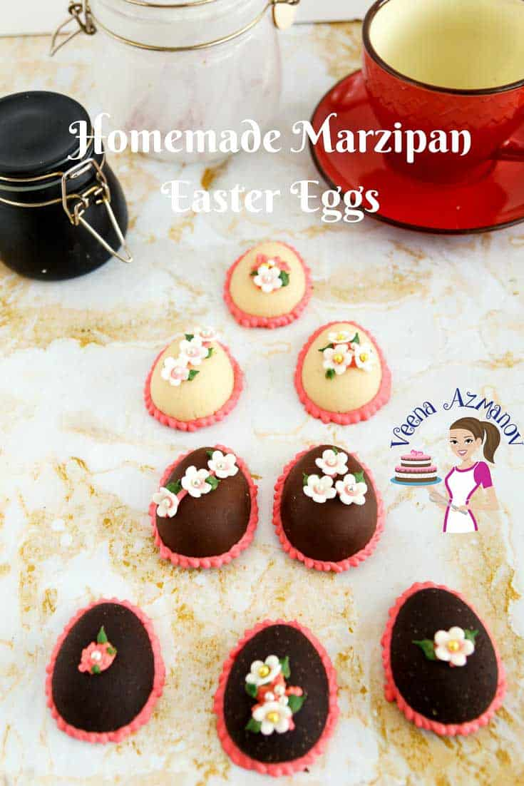 A Pinterest Optimized image for Homemade marzipan Easter eggs featuring classic homemade marzipan and chocolate marzipan