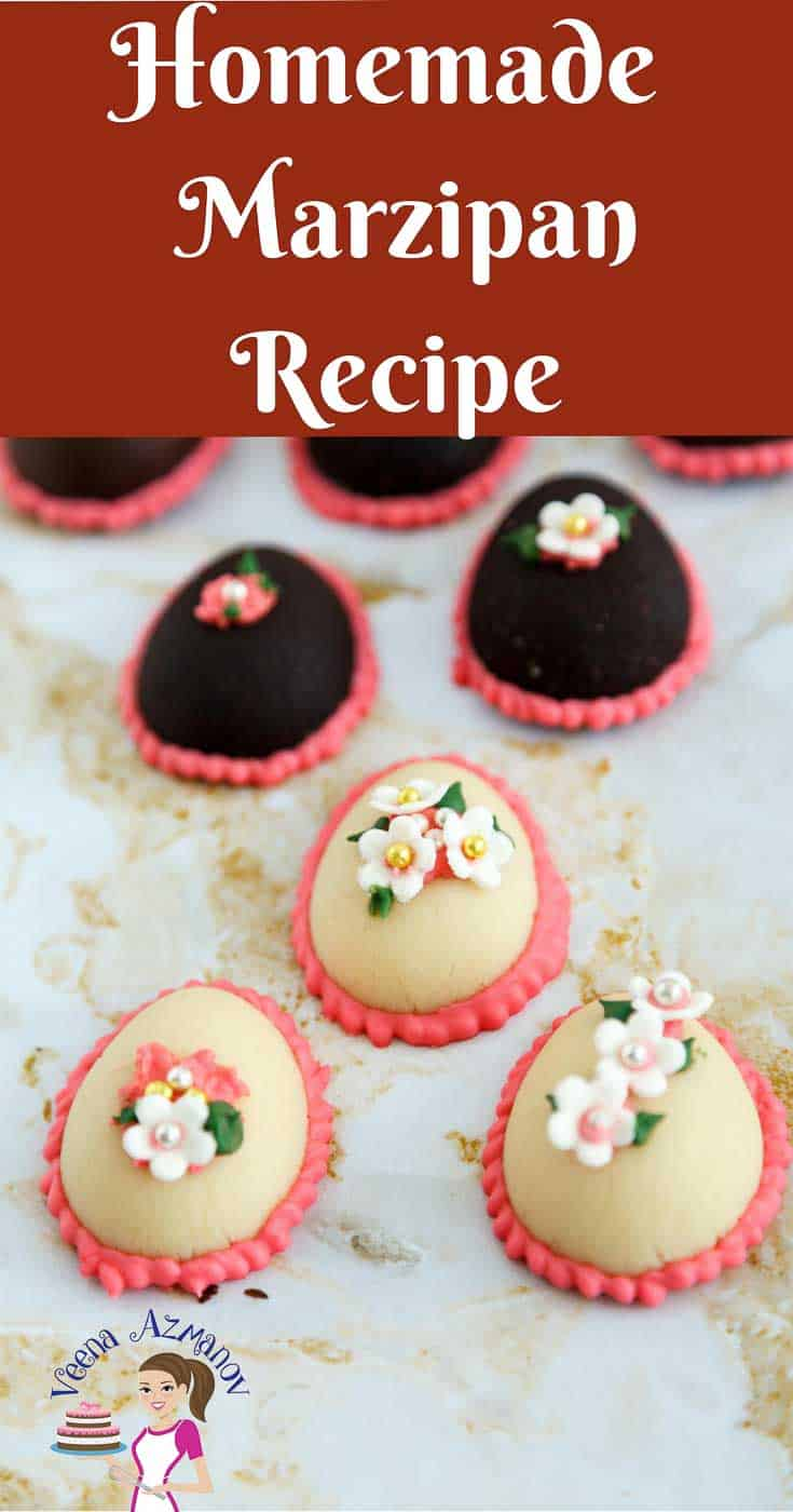 A Pinterest Optimized image for marzipan recipe, homemade marzipan recipe in 5 mins featuring marzipan Easter eggs