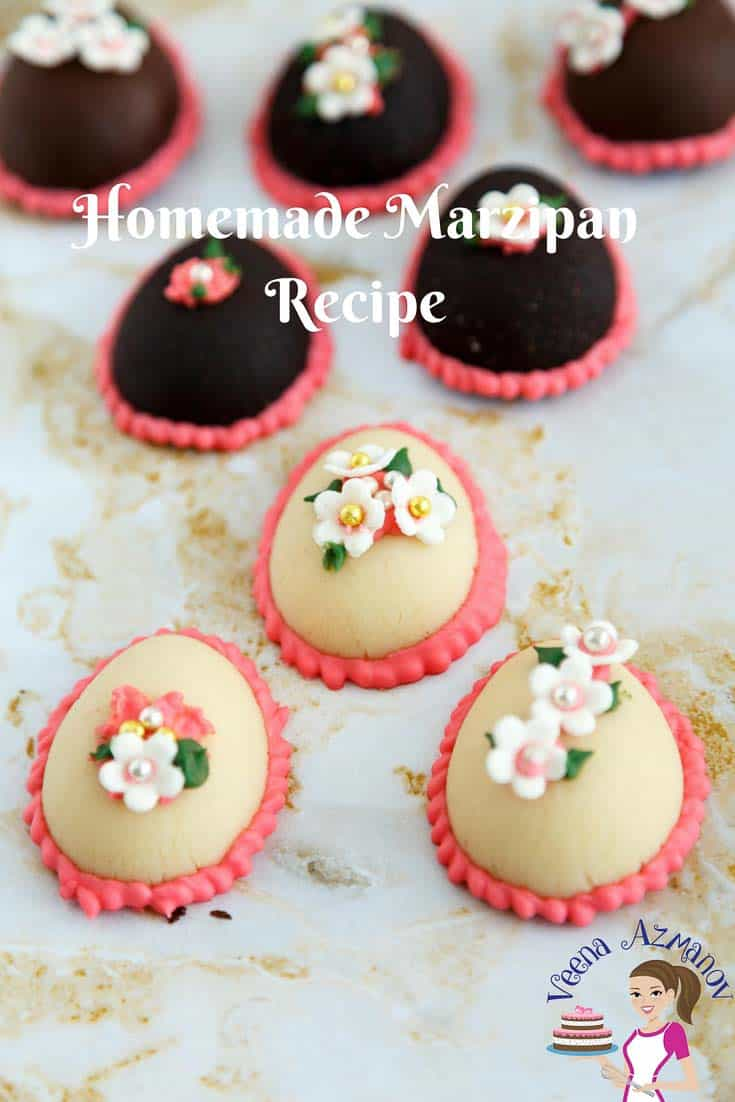 A Pinterest Optimized image for homemade marzipan - featuring marzipan Easter eggs