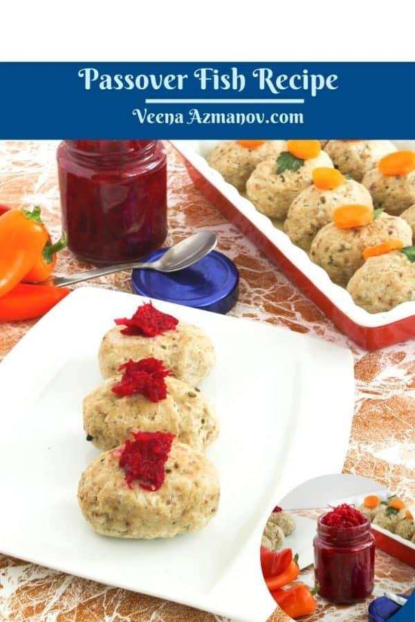Pinterest image for gefilte fish.