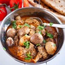 A kadai with mushrooms masala.