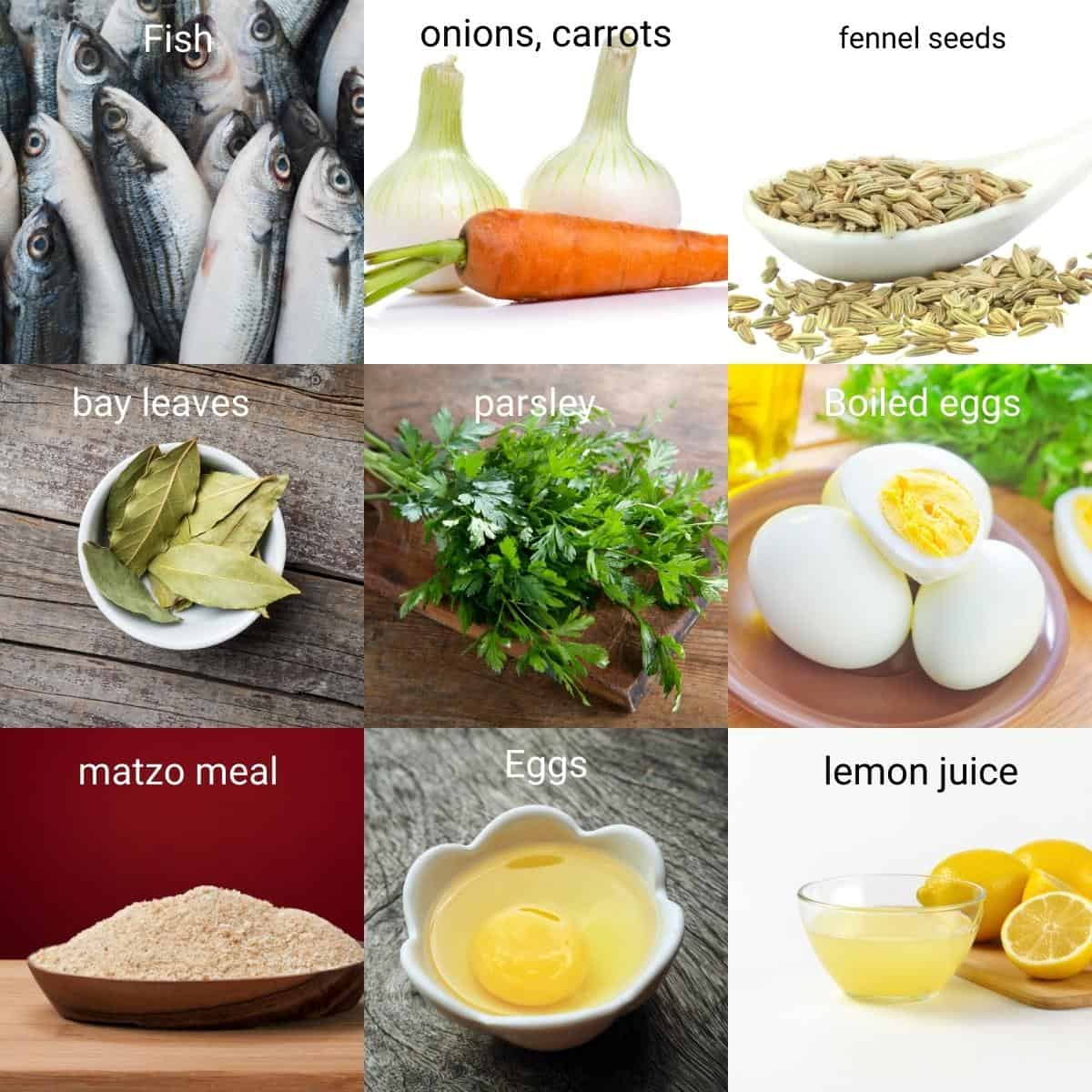 Ingredients shot collage for Gefilte Fish.